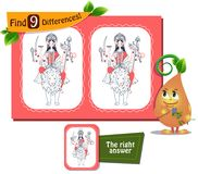 Durga game 9 differences. Visual game for children and adults. Task to find 9 differences Stock Photos