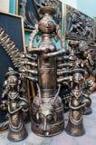 Durga Idol, trabajo de arte, artesanías indias justas en Kolkata Fotografía de archivo