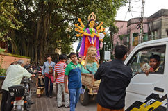Durga Immersion. Goddess Durga during immersion near the river Ganga Stock Photo