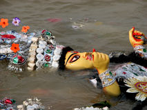 Durga immersion. The immersion of the Durga idol during the Durga Puja festival in Babughat, Kolkata, West Bengal, India Stock Photo