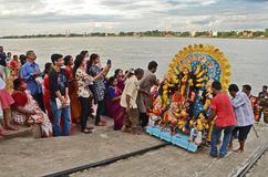 Durga Immersion. People gathered near the Ganges river at the time of immersion of goddess Durga in Bengal, India Royalty Free Stock Image