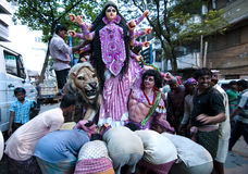 Durga immersion. People gathered at the time of immersion of goddess Durga in Bengal, India Stock Photo