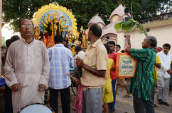 Durga Immersion. People gathering at the Ganges river ghat for immersion of goddess Durga Royalty Free Stock Photo