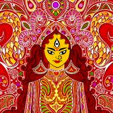Durga Puja. Illustration of colorful Goddess Durga against abstract background Stock Photos