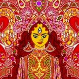 Durga Puja. Illustration of colorful Goddess Durga against abstract background stock illustration