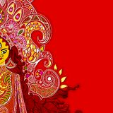 Durga Puja. Illustration of colorful Goddess Durga against abstract background Royalty Free Stock Photos