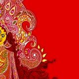 Durga Puja. Illustration of colorful Goddess Durga against abstract background vector illustration