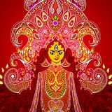 Durga Puja. Illustration of colorful Goddess Durga against abstract background Stock Images