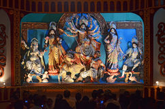 Durga Puja. Devotees gather to worship Goddess Durga in a pandal  during Durga Puja in Agartala, Tripura, India, Asia Royalty Free Stock Image