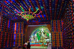 Durga puja, Dussehra in Kolkata. Durga puja or Dussehra is one of the best celebrated festivals in Kolkata, India. Photo of a pandal or temple with people Royalty Free Stock Photo