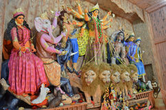 Durga Puja. Idol of Goddess Durga in a pandal  during Durga Puja in Agartala, Tripura, India, Asia Royalty Free Stock Photography