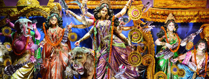 Durga Puja. Idol of Durga Maa along with all her children in a Pandal shown on 11 Oct 2013 in Kolkata, India. Durga puja is the biggest festival for Bengalis royalty free stock images