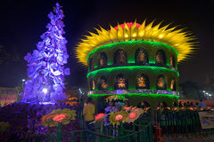 Durga Puja Pandal (decorated temporary temple)., Kolkata at night, India Royalty Free Stock Photos