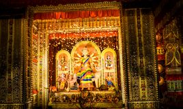 Durga puja Durga pratima. Durga pratima clay make in a pandal in kolkata. sclupture contains idols os durga ganesha laxmi saraswati and lion. captured in night Stock Images