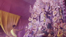 Durga puja by saint in navratri. DELHI, NEW DELHI, INDIA - 11 OCTOBER 2015: Saint is doing pooja of goddegss durga. It is the biggest festival of Hinduism and