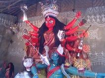 Durga rosso di maa in un villaggio Fotografia Stock Libera da Diritti