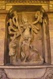 Durga slaying demon Mahishasura. Durga temple, Aihole, Bagalkot, Karnataka. Durga slaying demon Mahishasura. Durga temple, Aihole, Bagalkot Karnataka India royalty free stock photos