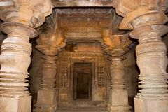 Durga temple interior pillars, Aihole, Bagalkot, Karnataka. Durga temple interior pillars, Aihole, Bagalkot Karnataka India stock photo