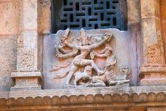 Durga zabija demonu, północy ściana, Subrahmanyam świątynia, Brihadisvara Świątynny kompleks, Tanjore, tamil nadu Obraz Royalty Free