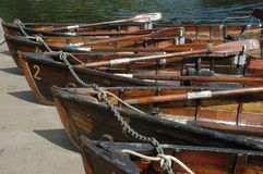 Durham Boats. Row boats in line in Durham riverside in a beautiful summer afternoon Stock Photography