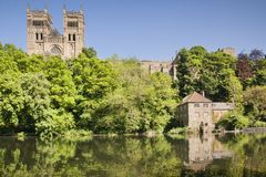 Durham Cathedral Sunshine. Durham Cathedral, the Old Fulling Mill, now an archaeological museum, and the River Wear, County Durham, England, UK Royalty Free Stock Photo
