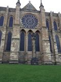 Durham Cathedral - the Rose Window. The Rose Window set into Durham Cathedral stock photo