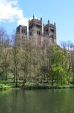Durham Cathedral. View of Durham Cathedral towers from river bank, UK. Photo taken April 2015 Royalty Free Stock Photos