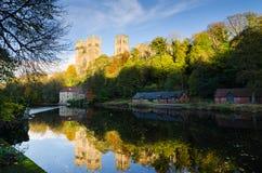 Durham Katedra jesień odbicie zdjęcie royalty free