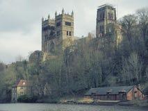Durham-Kathedralen-und -fluss-Abnutzung Stockfoto