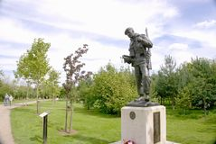 Durham Light Infantry Memorial. Memorial for all who served and all who gave their lives in the Durham light infantry. A statue of a soldier with bugle and Royalty Free Stock Image