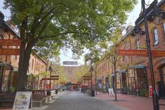 DURHAM,NC/USA - 10-23-2018: Brightleaf Square complex near downtown Durham, which includes restuarants and shops in renovated royalty free stock images