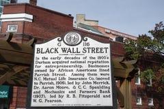 DURHAM, NC/USA - 10-23-2018: Dziejowy markier w Durham NC opisuje historię amerykanin afrykańskiego pochodzenia biznesy w obrazy stock