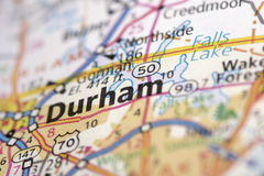 Durham, North Carolina on map. Closeup of Durham, North Carolina on a road map of the United States stock photos