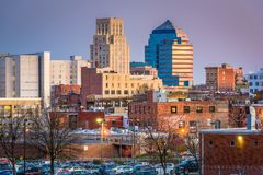Durham, North Carolina, USA downtown skyline stock photography