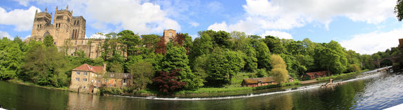 Durham Riverside Panorama. The riverside at Durham. This shows the historic Cathedral among its delightful surroundings Royalty Free Stock Images