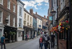 Durham, United Kingdom - July 30, 2018: Shopping street in a center of historic town Durham in North East England. royalty free stock image