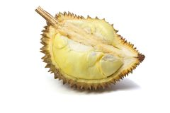 Durian auf weißem Teller, weißer Hintergrund stockbild