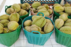 Durian in basket at Thailand's market Stock Image