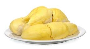 Durian con il piatto isolato su fondo bianco Fotografia Stock Libera da Diritti