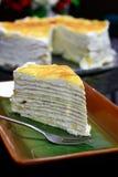 Durian crepe layer cake Stock Photos