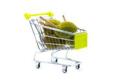 Durian de achat sur le chariot Images stock