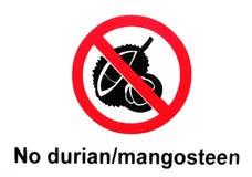 Durian of de mangostan belemmert teken royalty-vrije stock foto's