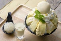 Durian di Bingsu con il gelato del durian ed il durian Fotografia Stock Libera da Diritti