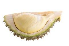 Durian fresco del taglio su un fondo bianco fotografia stock