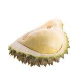 Durian fresco del taglio su un fondo bianco fotografia stock libera da diritti