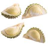 Durian fresco del taglio su un fondo bianco immagine stock