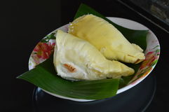 Durian on fresh banana leaf Royalty Free Stock Photos