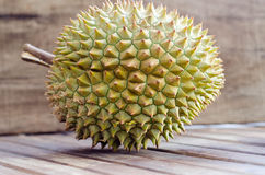 Durian fresh yellow  fruit on wooden background.  Stock Photo