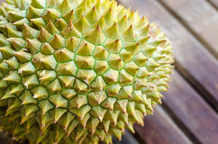 Durian fresh yellow  fruit on wooden background Stock Photos