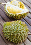 Durian fresh yellow  fruit on wooden background.  Royalty Free Stock Photography